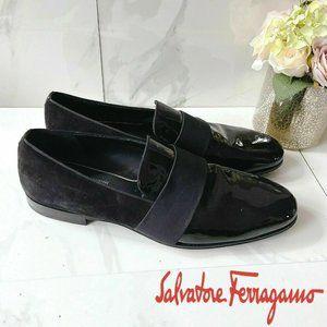 Salvatore Ferragamo Dress Loafer Shoe Black Patent